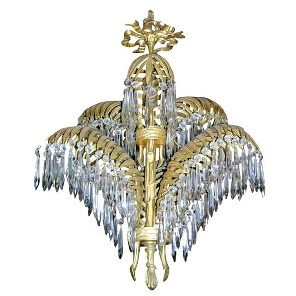French Bronze Palm Chandelier by Bagues For Sale