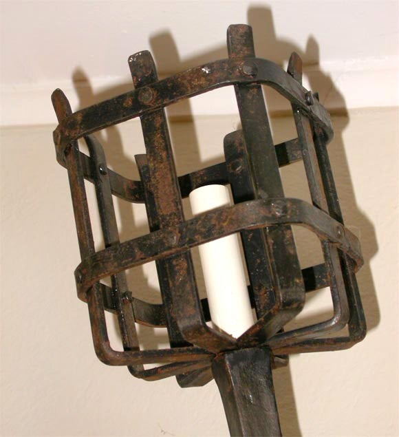Pair of Hand Forged Iron Sconces at 1stdibs