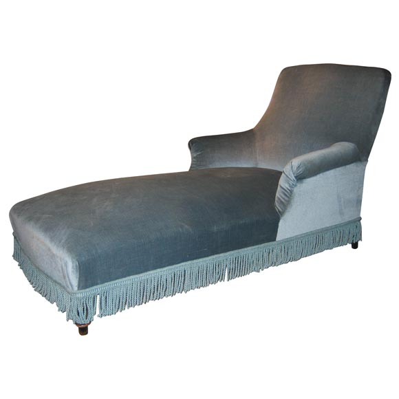 Napoleon iii chaise longue in blue velvet at 1stdibs for Blue velvet chaise