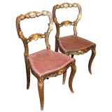 Pair of Ebony Painted Side Chairs