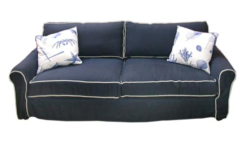Nice Navy Blue Linen Slipcovered Sofa 1