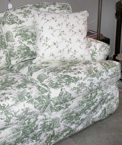 Highland House Emily Green Toile Sofa At 1stdibs