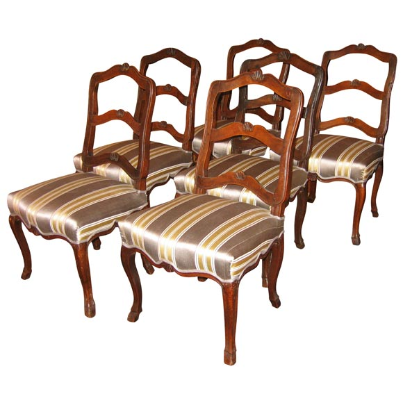 set of six walnut dining room chairs from haute provence at 1stdibs