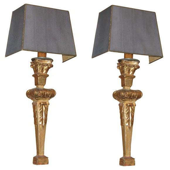 Two Bois Dore Sconces with Slate Grey Silk Shades at 1stdibs