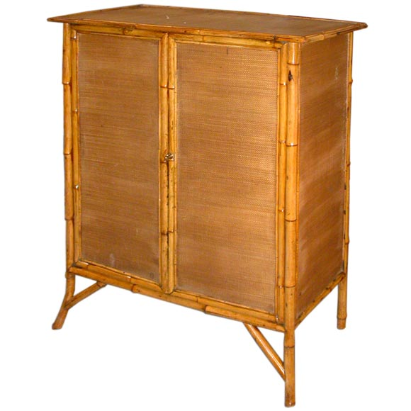 Antique Bamboo And Wicker Cabinet At 1stdibs