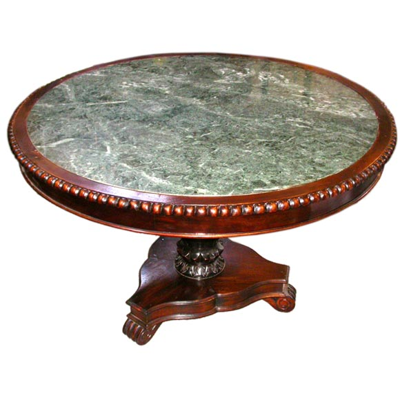 Round Green Marble : Round green marble and beaded mahogany pedestal table for