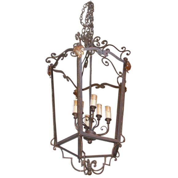 Iron And Copper Acanthus Leaf Lantern Chandelier At 1stdibs