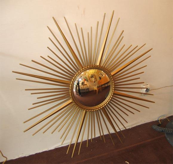 French Brass Sunburst Convex Mirror