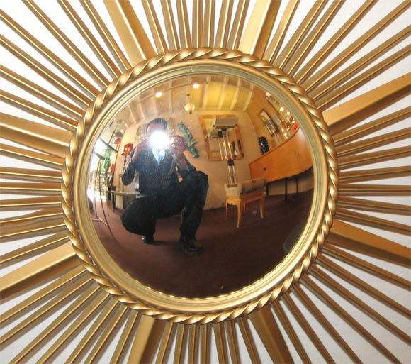 Brass Sunburst Convex Mirror In Good Condition In Charleston, SC