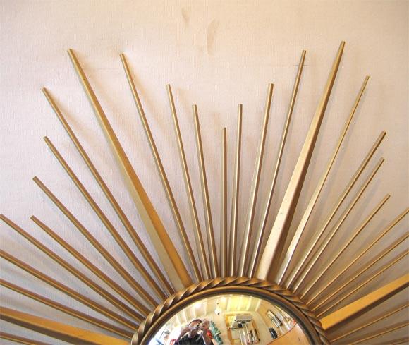 Mid-20th Century Brass Sunburst Convex Mirror