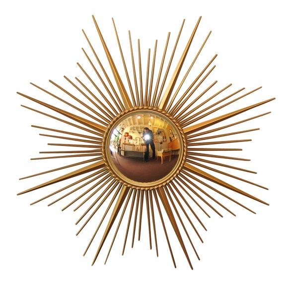 Brass Sunburst Convex Mirror