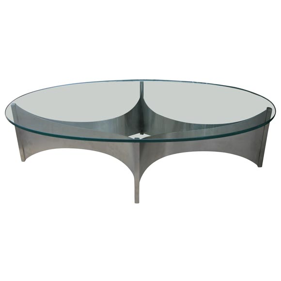 1970s Oval Glass And Steel Coffee Table At 1stdibs