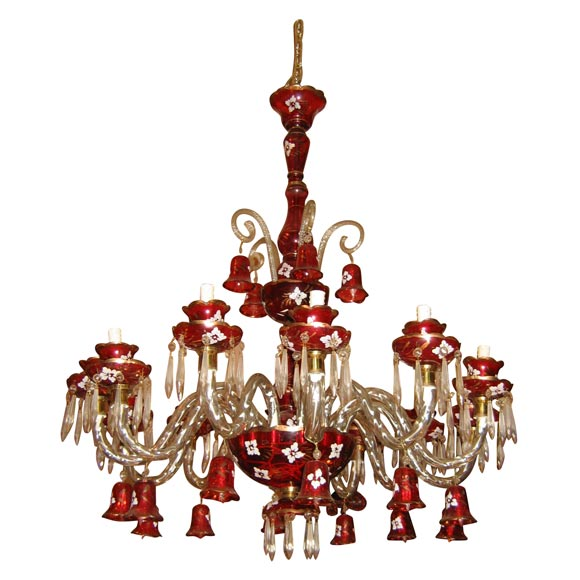 Red Murano Chandelier: Striking Red And White Murano Glass Chandelier At 1stdibs