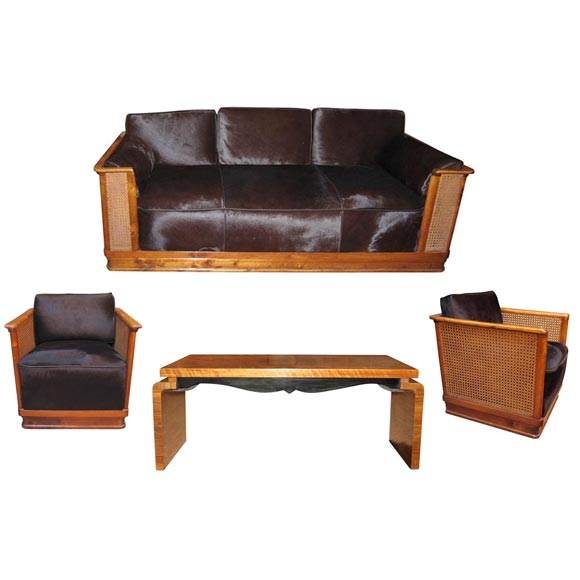 Living Room Suite In Beech And Colt Leather At 1stdibs