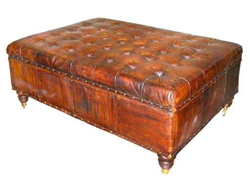 - Tufted Leather Storage Ottoman At 1stdibs