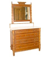 Faux Bamboo Marble Top Dresser