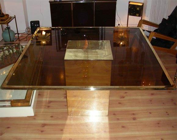 Smoked Glass and Bronze Table by Jenalzi In Good Condition For Sale In Saint-Ouen, FR