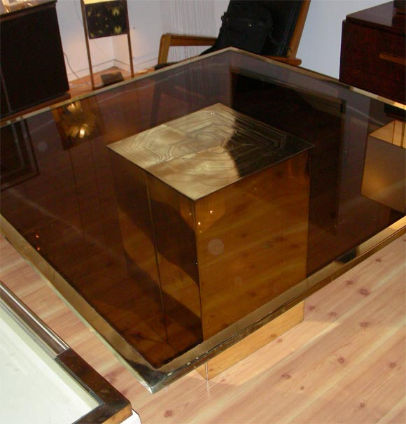 Late 20th Century Smoked Glass and Bronze Table by Jenalzi For Sale