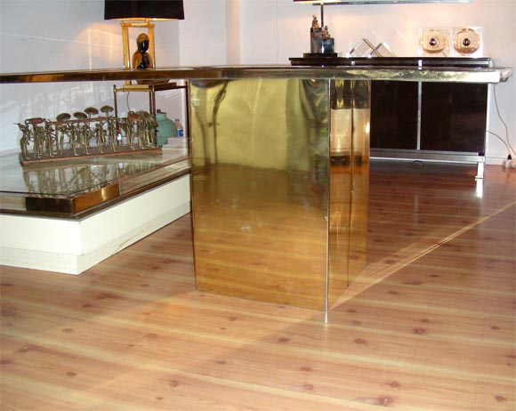 Smoked Glass and Bronze Table by Jenalzi For Sale 2