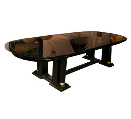 fine black lacquer dining table by dominique at 1stdibs