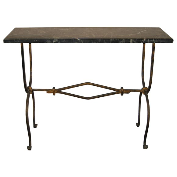 wrought iron and black veined marble console table at 1stdibs