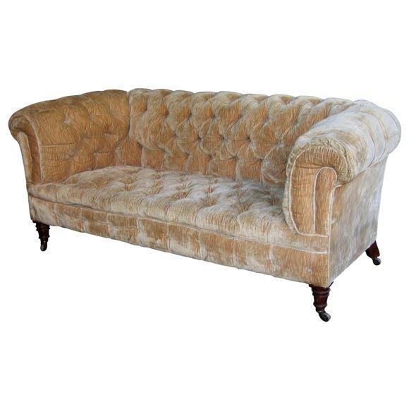 Padded Beige Velvet Sofa At 1stdibs