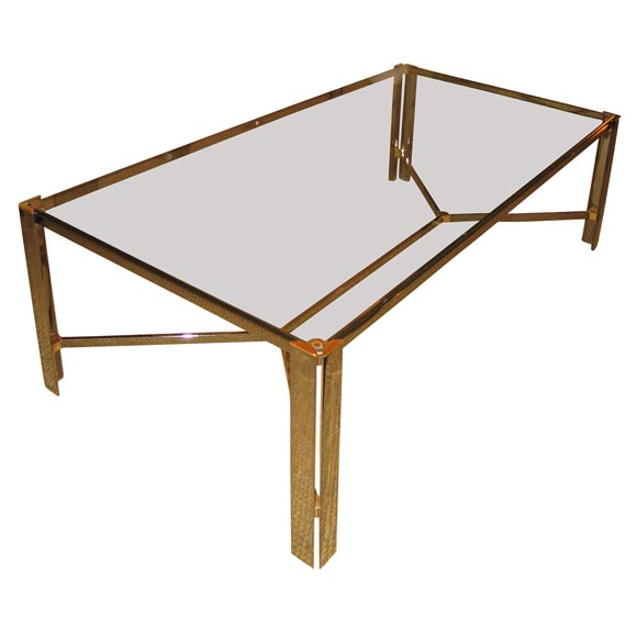Two Tone Metal And Glass Coffee Table At 1stdibs