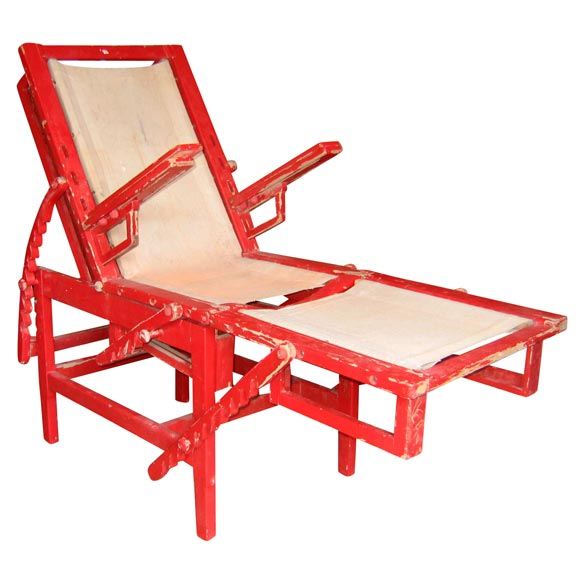 1920s red wood chaise longue at 1stdibs for 1920s chaise lounge