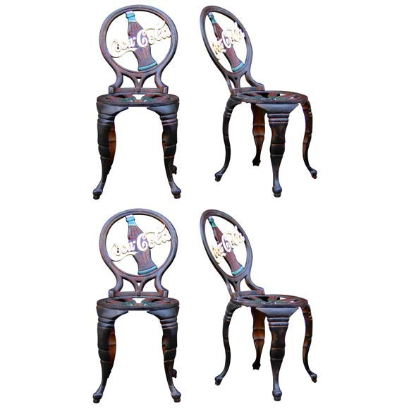 Four 1950s Quot Coca Cola Quot Cast Iron Chairs At 1stdibs