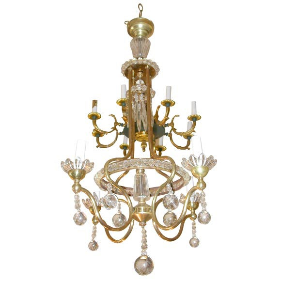 Delicate Crystal And Bronze Chandelier At 1stdibs