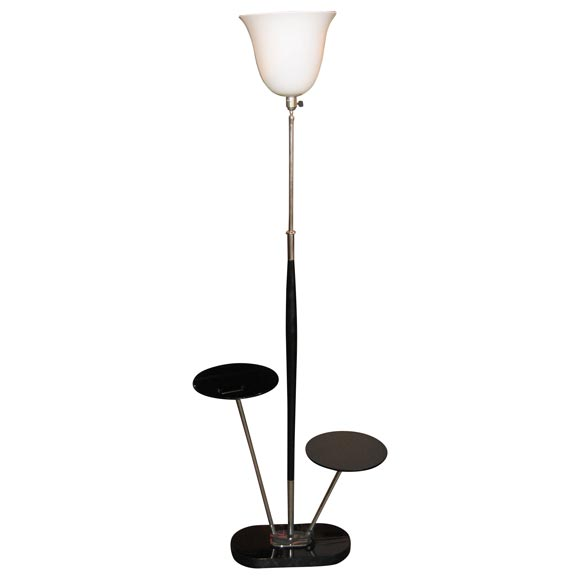 floor lamp in black and white opaline with shelves at 1stdibs. Black Bedroom Furniture Sets. Home Design Ideas