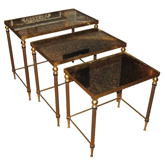 Bronze Nesting Coffee Tables: Three 1950 Gilt Bronze And Glass Nesting Tables At 1stdibs
