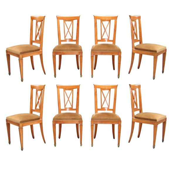 Eight Neo Directoire Chairs In Cherrywood At 1stdibs
