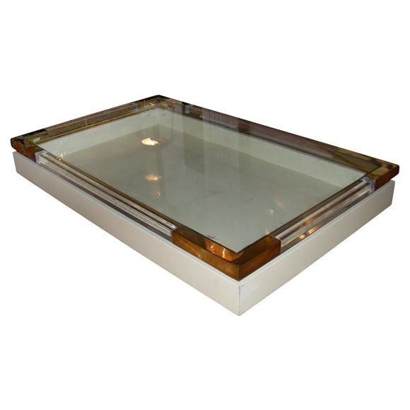 White Lacquer Plexiglass Brass Coffee Table At 1stdibs