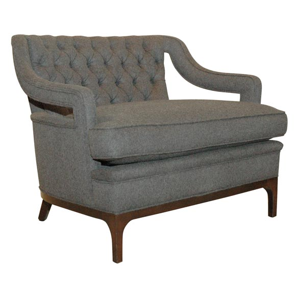 Custom Tufted Lounge Chair at 1stdibs