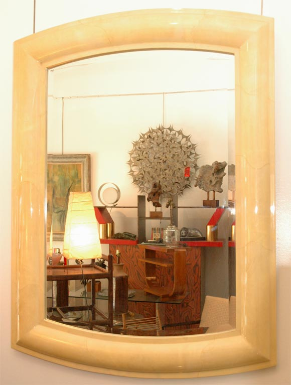 Large goatskin wall mirror attb to karl springer for sale for Huge wall mirrors for sale