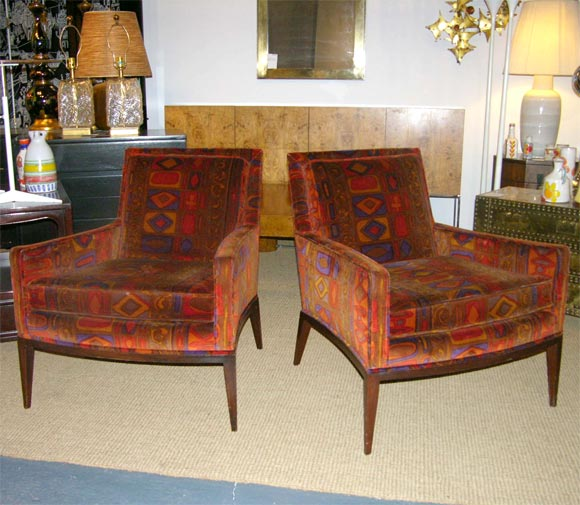 Lovely Pair Of Club Chairs In Vintage Larsen Fabric By Harvey Probber 2