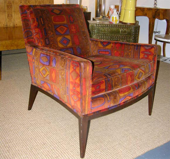 Pair Of Club Chairs In Vintage Larsen Fabric By Harvey