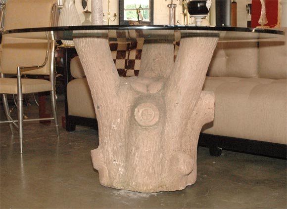 Faux bois tree trunk table base at 1stdibs for Tree trunk dining room table