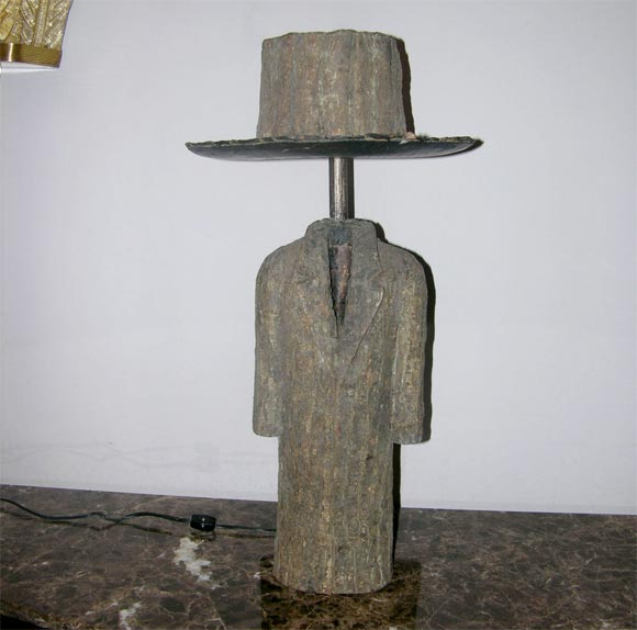 American Pair of Sculptural Wood Coat and Top Hat Lamps For Sale