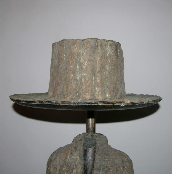 Pair of Sculptural Wood Coat and Top Hat Lamps For Sale 1