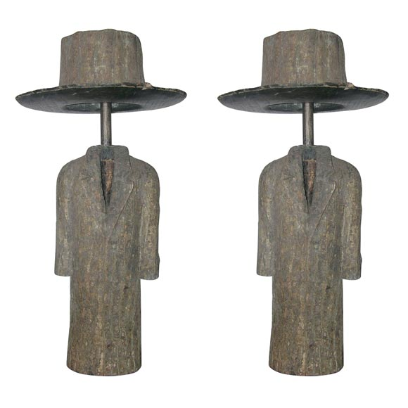 Pair of Sculptural Wood Coat and Top Hat Lamps For Sale