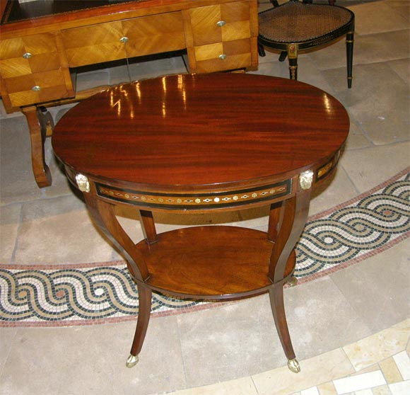 Rare Neo Classic Inlaid Oval Side Table By Chapuis Ca