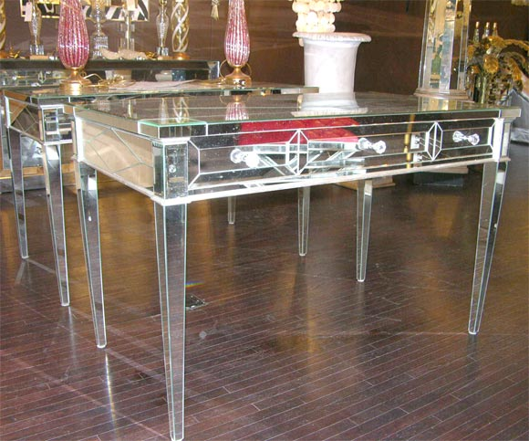 Custom Mirrored Desk with Silver Leaf Wood Details 2