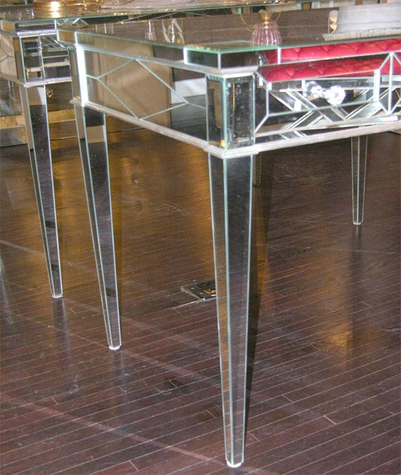 Custom Mirrored Desk with Silver Leaf Wood Details 3