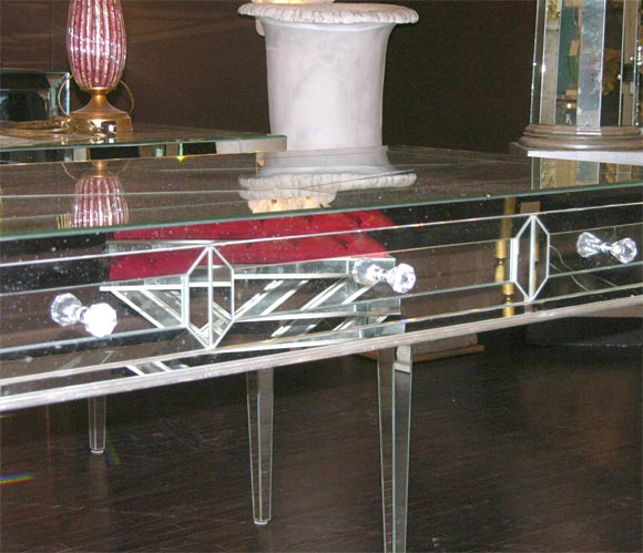 Custom Mirrored Desk with Silver Leaf Wood Details 4