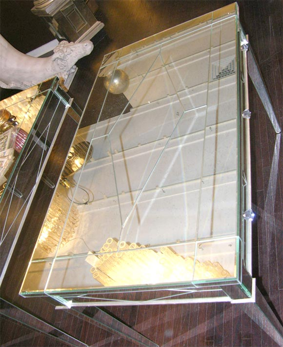 Custom Mirrored Desk with Silver Leaf Wood Details 5