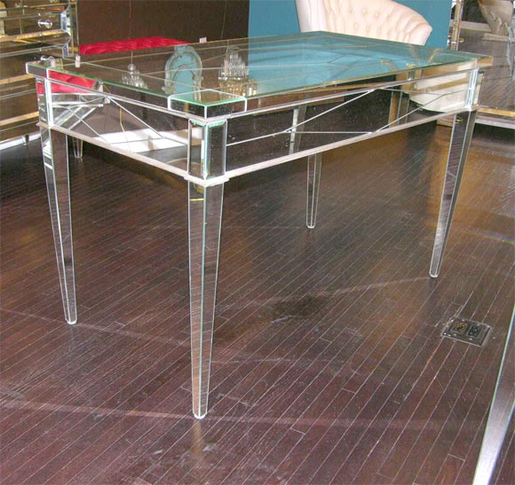 Custom Mirrored Desk with Silver Leaf Wood Details 6