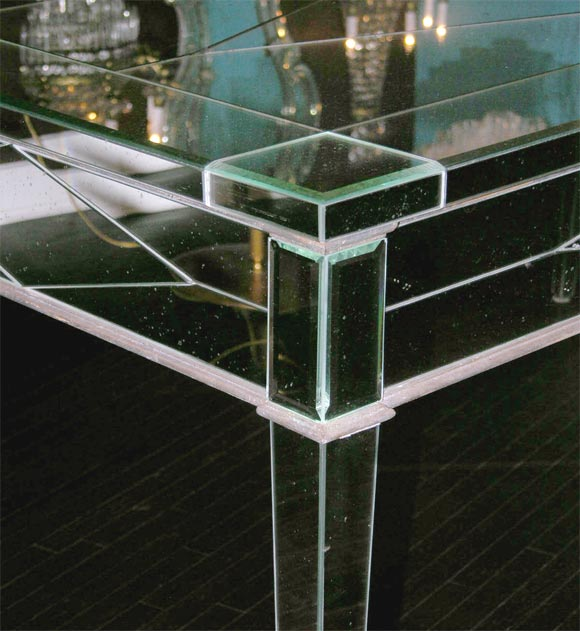 Custom Mirrored Desk with Silver Leaf Wood Details 7