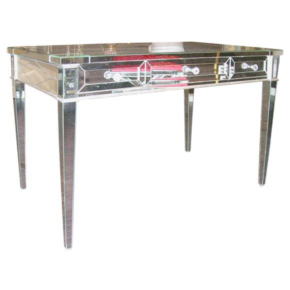 Custom Mirrored Desk With Silver Leaf Wood Details For